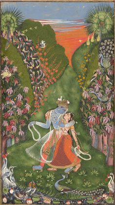 Kota Master (Indian, active in the early century). Radha and Krishna Walk in a Flowering Grove (recto); Krishna Fluting (verso), ca. The Metropolitan Museum of Art, New York. Cynthia Hazen Polsky and Leon B. Polsky Fund, 2003 b) Krishna Art, Hare Krishna, Indian Paintings, Oil Paintings, Painting Art, Watercolor Painting, Watercolor Artists, Painting Tips, Abstract Paintings