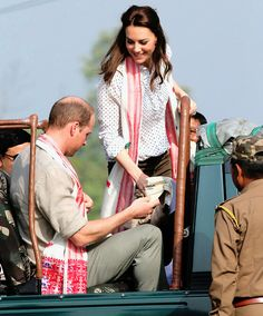 The Duke and Duchess of Cambridge taking part in a safari at Kaziranga National Park, India.