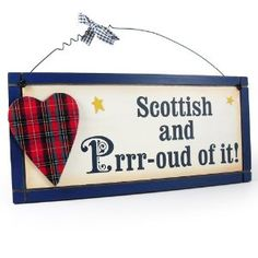 Heartwarmers Fun Wooden I Love Scotland Scottish Sign/ Plaque