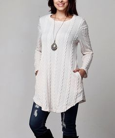 Winter White Cable Knit Side-Pocket Tunic - Plus