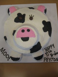 Perfect......but burnt.: A Cow Birthday Cake