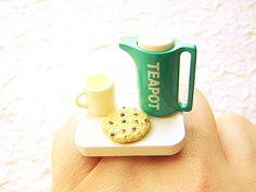 cute tea ring teapot cup cookie miniature food jewelry