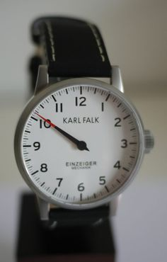 One Handed Watch - Karl Falk White Einzeiger Mechanik Manual Wind 43mm - Made in Germany
