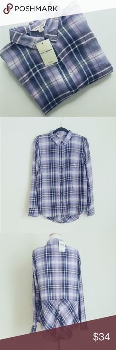 "NWT Lucky Brand rayon plaid button-down shirt NWT 100% rayon, soft and relatively thin. Color is orchard purple with navy. Size M, casual loose fit. chest 20.5"", length front 27"" , back 29.5"". 🚫no trade Lucky Brand Tops Button Down Shirts"