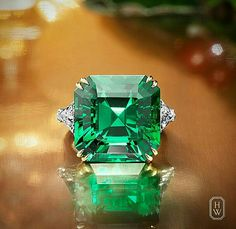Extraordinary 1613 carat Colombian Emerald Ring with diamond side stones Harry Winston Mehr Colombian Emerald Ring, Colombian Emeralds, Emerald Gemstone, Emerald Jewelry, Gemstone Jewelry, Diamond Jewelry, Emerald Diamond, Diamond Rings, Emerald Cut