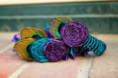 PEACOCK PERFECTION Teal and Purple Garter Set by plainNfancy, $38.00