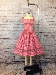 Vintage 1950's 50s Red Check Cotton Sundress by BillyKittenVintage