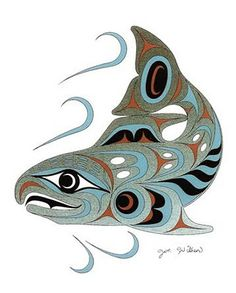 Pacific Northwest Native American salmon art. How gorgeous is this?