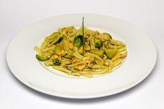 Ricetta glutenfree, Caserecce Riso di Pasta con salmone, curry e cavolini di Bruxelles