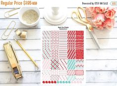 This is a super cute sheet of PRINTABLE washi strips, full boxes, half boxes and more in our peppermint candy cane theme. These stickers perfectly