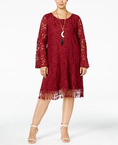 52.99$  Watch here - http://vikwx.justgood.pw/vig/item.php?t=6jaxd2833727 - Plus Size Lace Fringe-Trim Dress