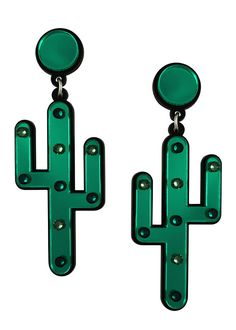 Y'all thirsty? Listen up. Add some desert glamour to your wardrobe with these cactus earrings. The earrings are embellished with sparkling emerald and erinite S