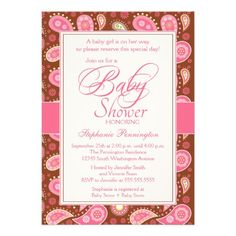 Chic pink   brown paisley baby shower invitation