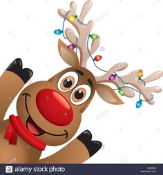 Stock Vector - vector xmas drawing of funny red nosed reindeer. cartoon rudolph deer with red scarf and christmas lights on big horns, b Christmas Lights Drawing, Christmas Lights Clipart, Xmas Drawing, Cartoon Reindeer, Reindeer Face, Red Nosed Reindeer, Raindeer Drawing, Christmas Wreath Illustration, Reindeer Lights