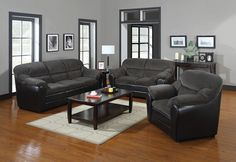 3 pc Cornell collection two tone dark gray corduroy fabric and leather like vinyl upholstered sofa, love seat and chair