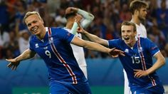 Iceland's Kolbeinn Sigthorsson celebrates after scoring his side's second goal during the Euro 2016 round of 16 soccer match between England and Iceland, at the Allianz Riviera stadium in Nice, France, Monday, June 27, 2016.