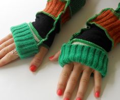 Recycled Sweater Fingerless Gloves Arm Warmers by ThankfulRose, $21.00