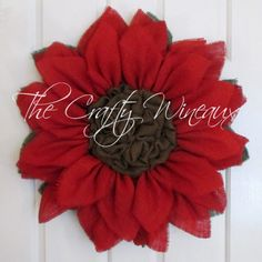 Rich Red Burlap Sunflower Wreath - The Crafty Wineaux