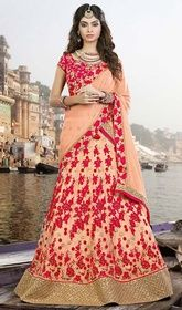Peach Color Shaded Net and Gota Silk Embroidered Choli  #weddinglehanga #weddingghagra Reveal your style draping this peach color shaded net and gota silk embroidered choli. The pretty jaal, lace, resham and sequins work a significant feature of this choli. Upon request we can make round front/back neck and short 6 inches sleeves regular lehenga blouse also.  USD $ 239 (Around £ 165 & Euro 182)