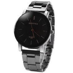 Share and Get It FREE Now   Join Gearbest     Get YOUR FREE GB Points and Enjoy over 100,000 Top Products,Rosivga 177 Delicate Stainless Steel Band Men Quartz Watch with Stripes Display Round Dial