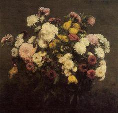 Large Bouquet of Crysanthemums - Henri Fantin-Latour