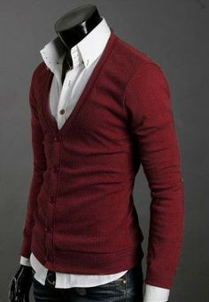 Fashion Arrival V-Neck Casual Wine Red Cardigan