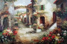 Tuscan+vineyard+Landscape+Oil+Paintings | ... Landscape Tuscany Street Homes Flowers Stretched 24X36 Oil Painting