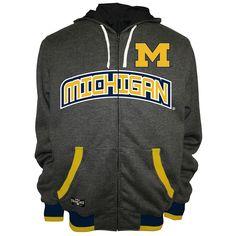 Men's Franchise Club Michigan Wolverines Power Play Reversible Hooded Jacket, Size: Medium, Grey
