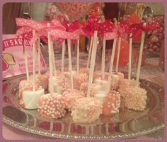 Candy dipped marshmallows covered with candy pearls - perfect for a girl baby shower