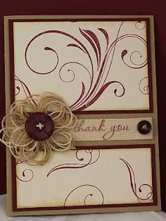 used some rustic button twine to create a flower for the card and added a button in scarlet jewel to match the paper and ink.