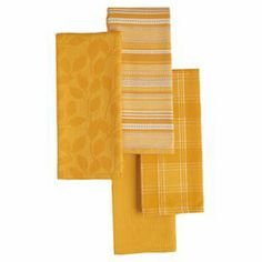 "Add a pop of color to your kitchen with these vibrant dishtowels, showcasing 4 varied designs in a chic daffodil hue.  Product: 4 Piece dishtowel setConstruction Material: CottonColor: DaffodilDimensions: 18"" x 28"" eachCleaning and Care: Machine washable"