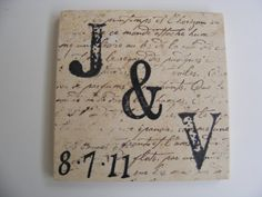 Just Married Monogram Coasters Set of 2 Drink Coaster Holiday Home Decor or Perfect Gift for Recent Engagement on Etsy, $10.00