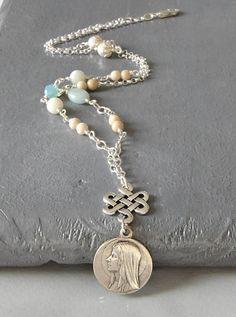 Catholic Religious Jewelry, Virgin MaryNecklace by FifteenMagpieLane