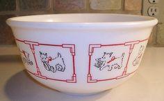 Vintage Tipp Hazel Atlas Milk Glass White Westie Mixing Bowl