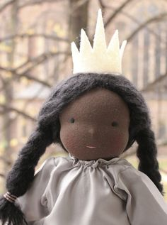 Classic Waldorf princess doll Dorothy with brown/black/dark skin, 16 inches / 16oz (40 cm/454g), very long black hair (mohair), blue eyes