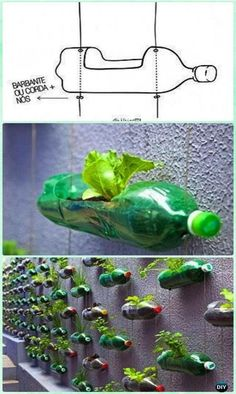 DIY Plastic Bottle Garden Projects & Ideas [Picture Instructions] DIY Hanging Plastic Bottle Gardening Wall Instructions - DIY Plastic Bottle Garden P Plastic Bottle Planter, Reuse Plastic Bottles, Plastic Recycling, Plastic Bottle Crafts Flowers, Garden Ideas With Plastic Bottles, Water Bottle Crafts, Recycled Garden, Diy Garden, Garden Projects