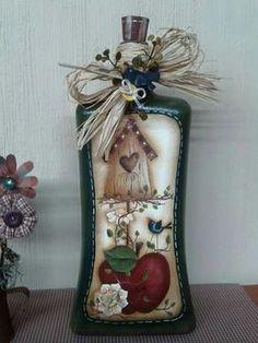 Rustico botellas vidrio navidad country diy