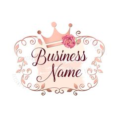 Custom Logo Design - Pink gold Logo - flowers crown princess Logo - rose gold flowers Logo - girls B Vector Logo Design, Custom Logo Design, Custom Logos, Business Logo, Business Card Design, Logo Papillon, Logo Couronne, Corona Logo, Princess Logo