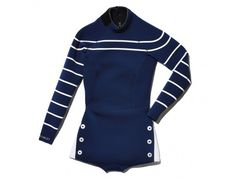 exclusive navy stripe wetsuit by Cynthia Rowley - a very hot item, via Goop/Gwyneth Paltrow Nautical Stripes, Navy Stripes, Exercise To Reduce Thighs, Dedicated Follower Of Fashion, Womens Wetsuit, Surf Wear, Summer Essentials, Cynthia Rowley, Navy And White