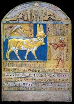 Stele depicts Ptolemy V making an offering to the Buchis Bull (painted limestone, height: 72 cms), from the Bucheum at Armant. Ptolemaic Period, ca. 332-30 BC. Egyptian Museum, Cairo.