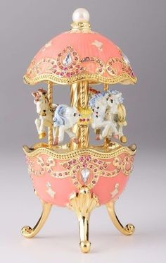 Easter Egg with Horse Carousel Trinket Box by Keren Kopal music box PINK