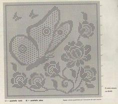 Filet Crochet Charts, Crochet Motif, Crochet Designs, Crochet Doilies, Crochet Stitches, Knit Crochet, Butterfly Cross Stitch, Crochet Butterfly, Cross Stitch Love