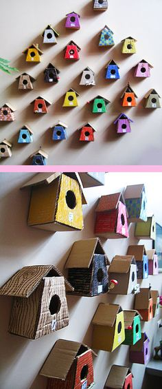 little birdhouses made from cardboard advent calendar