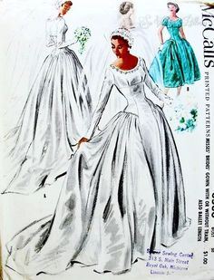 Vintage Wedding Dresses Dreamy Wedding Gown Bridal Dress Pattern With or without Long Train Also In Ballet Length Absolutely Flattering Style McCalls 3536 Vintage Sewing Pattern FACTORY FOLDED Bust 30 - Wedding Dress Patterns, Vintage Dress Patterns, Clothing Patterns, Vintage Dresses, Vintage Outfits, Vintage Fashion, Motif Vintage, Retro Mode, Gown Pattern
