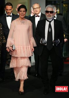 Princess Caroline of Hanover and Karl Lagerfeld arrive at the Rose Ball 2018 To Benefit The Princess Grace Foundation at Sporting Monte-Carlo on March 2018 in Monte-Carlo, Monaco. Charlotte Casiraghi, Andrea Casiraghi, Frill Dress, Chiffon Dress, Grace Kelly, Royal Fashion, Indian Fashion, Caroline Von Monaco, Albert Von Monaco