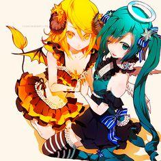Miku Hatsune and Rin Kagamine