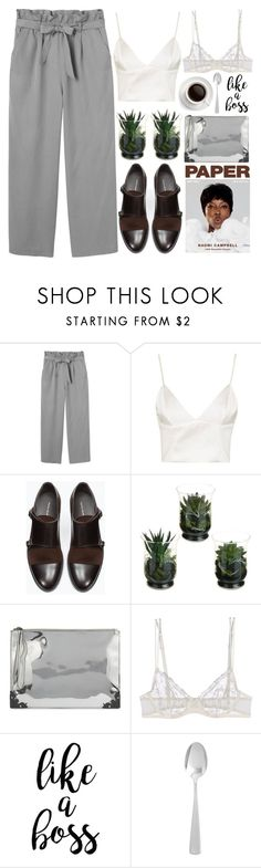 """""""like a boss"""" by evangeline-lily ❤ liked on Polyvore featuring Naomi Campbell, Monki, Topshop, Zara, McQ by Alexander McQueen, La Perla, Pier 1 Imports, AlexanderMcQueen, metallic and zara"""