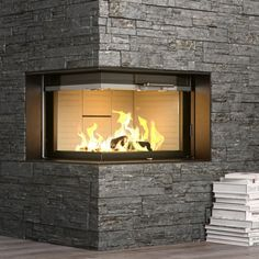 Rais Visio2 Wood Burning Built-In Corner Stove | Fireplace Products