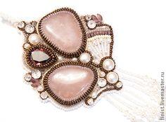 """Комплект """"Сакура"""" - бледно-розовый,Вышивка бисером,украшения из бисера"""
