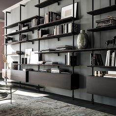 Bookshelf Design 2020 – How do you organize a bookshelf? - Home Ideas Home Library Design, Home Office Design, Home Interior Design, Modern Library, Shelving Design, Bookshelf Design, Design Desk, Shelving Systems, Home Decor Shelves